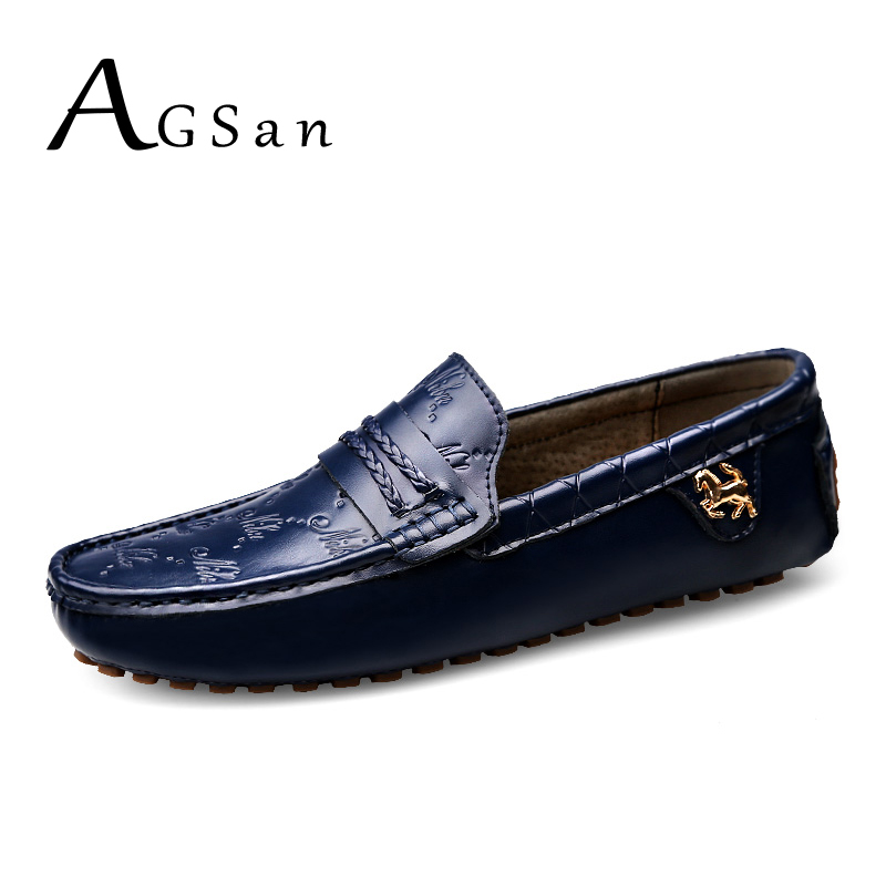 AGSan Luxury Brand Italian Men Loafers Big Size 37-49 Driving Shoes Genuine Leather Mocasines Hombre Fashion Designer Loafers