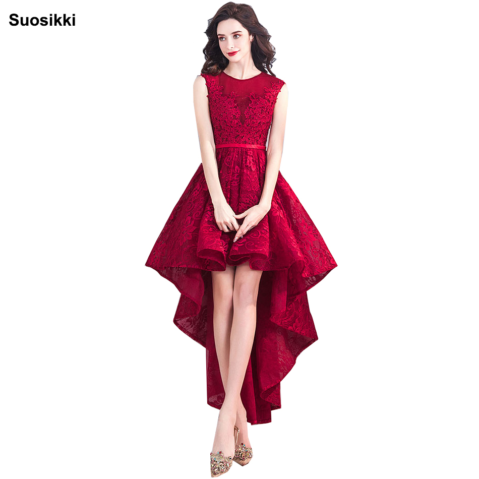 Suosikki New Banquet Elegant lace   Evening     Dress   High/low Short Front Long Back Lace Appliques Formal prom Party Gown Custom size