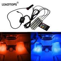 GEETANS Car RGB LED Strip Light 4pcs LED Strip Lights 16 Colors Car Styling Decorative Atmosphere