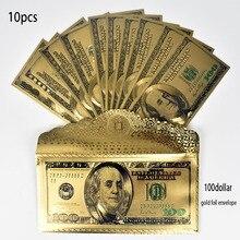 24-каратная Золотая фольга, 10 штук, 100 долларов США, коллекция банкнот с конвертом