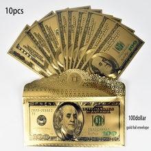 Billetes de aluminio dorado de 24K, colección de 100 dólares USD con sobre, 10 Uds.