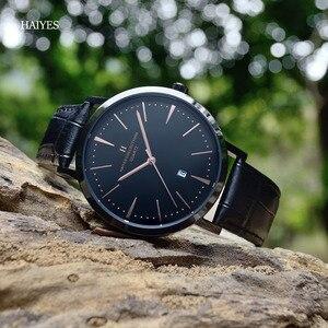 Image 3 - HAIYES mężczyźni oglądać luksusowe marki analogowe Auto data japonia ruch wodoodporne zegarki kwarcowe najlepszy prezent 2018 New Arrival zegarki