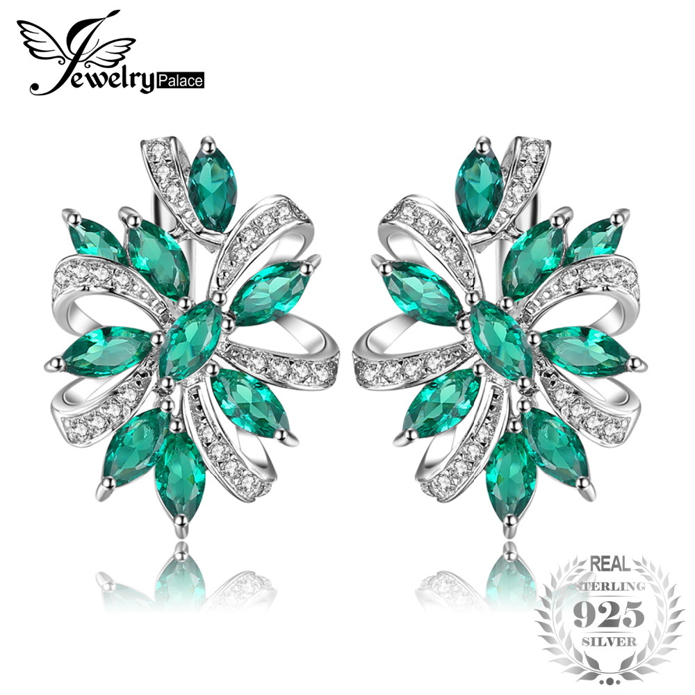 JewelryPalace Unique Design 2.1ct Created Green Emerald Clip On Earrings 925 Sterling Silver 2018 New Fine Jewelry
