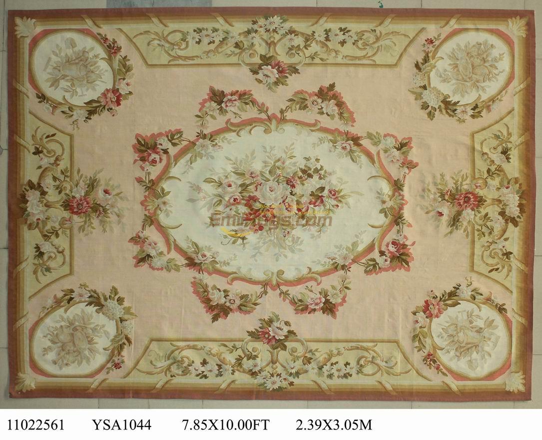 wool carpet french aubusson rugs 239cmx305cm 785u0027x 10u0027 big area rug pink beige - Aubusson Rugs