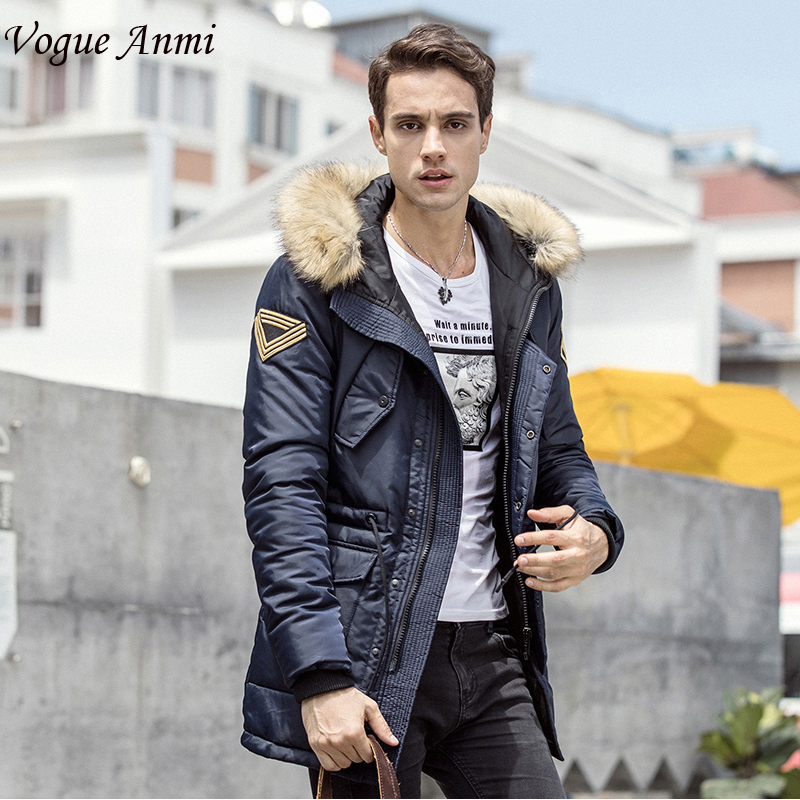 Vogue Anmi Brand Clothing Men's Casual Parkas Long Style Loose Fit Fur Hooded Jacker Winter Jacket Men Padded Army Size M-XXL vogue anmi brand clothing men s casual parkas long style loose fit fur hooded jacker winter jacket men padded army size m xxl