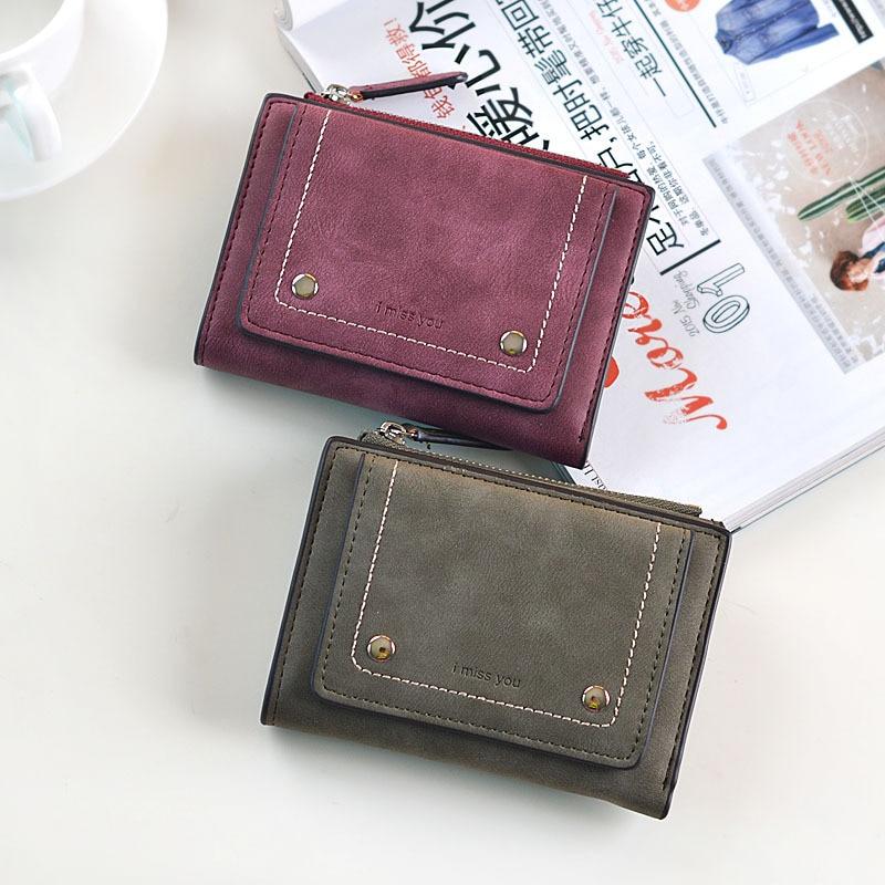 Retro Matte Women Wallet Fashion PU Leather Short Women Wallets Zipper Handbags Small Female Purse Coin Card Holder Money Bag wallet