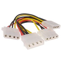 цены 3 Way 4 pin PSU Power Splitter Cable LP4 Molex 1 to 3 Lead 15cm