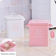 1 adet pirinç saklama kutusu demir enkaz aperatifler kaplı çamaşır tozu kova çamaşır tozu kutusu toz pirinç varil kaşık ev U3