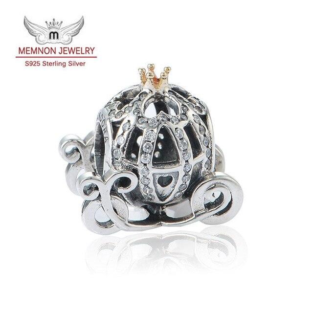 Carro de la calabaza de los encantos de Plata de ley 925 Del Encanto de la joyería con la joyería Fina de Oro Fit marca granos de Las Pulseras de DIY que hace MN520