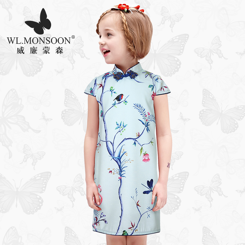W.L.MONSOON Girls Dress 2017 Brand Princess Dresses with Rose Flower Print Robe Fille Enfant Kids Dresses for Girls Clothes 4-12 girls dresses summer 2016 brand christmas dress princess costume robe fille enfant floral print kids dresses for girls clothes