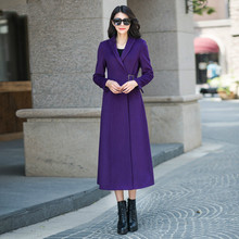 2016 Autumn and Winter Fashion Women's Purple Wool Jacket Coat Ultra Long Slim Overcoat Female Long Sleeve Outwear Oversize