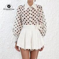Летняя блузка в горошек Женская Весенняя рубашка с длинными рукавами 2019 отложной воротник Повседневная Женская блузка