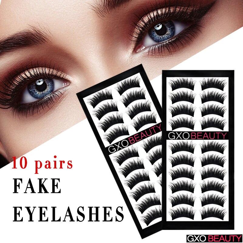 8d9979c6c28 GXO BEAUTY 10 Pairs Natural Black False Eyelashes Fake 100% HandMade Eye  Lashes Extensions Makeup Tools