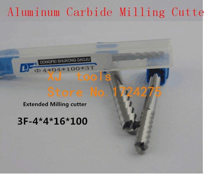 Freies Verschiffen 4,0mm Lange Schaftfräser 4,0*4*16 * 100L 3 Flöten Aluminium Hartmetallfräser, Hartmetall-schaftfräser CNC Fräser, drehwerkzeug