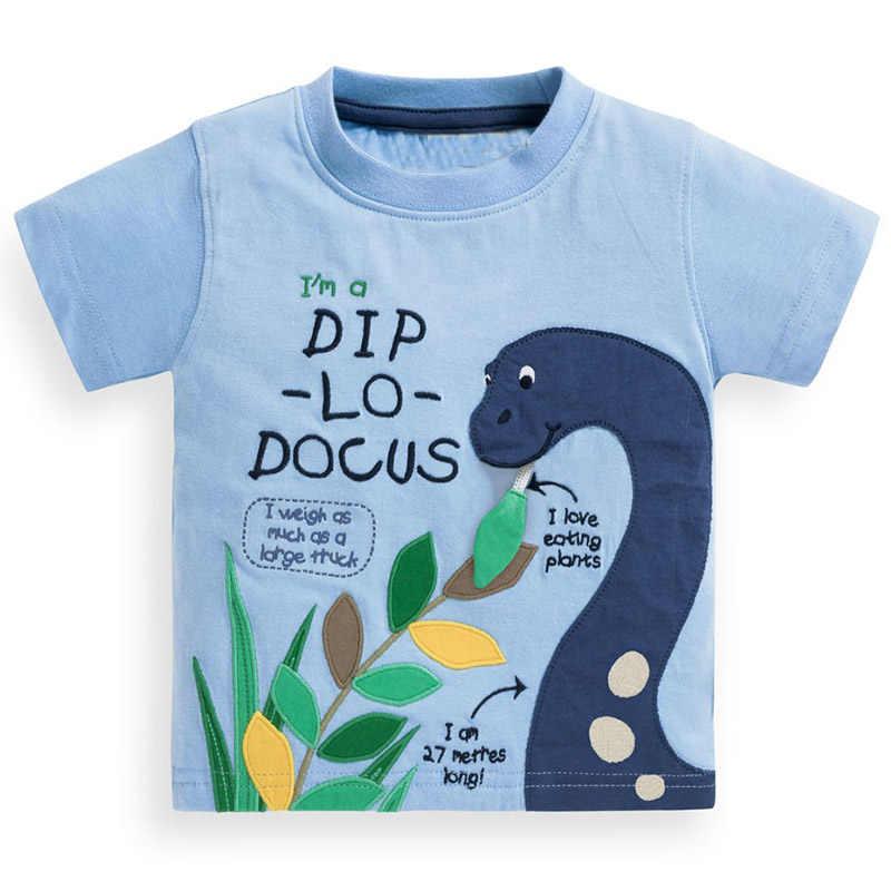 Мальчиков футболка с аппликация с животными Одежда для маленьких мальчиков Для детей, на лето топы хлопковая Футболка Fille детская футболка s для мальчиков Костюмы