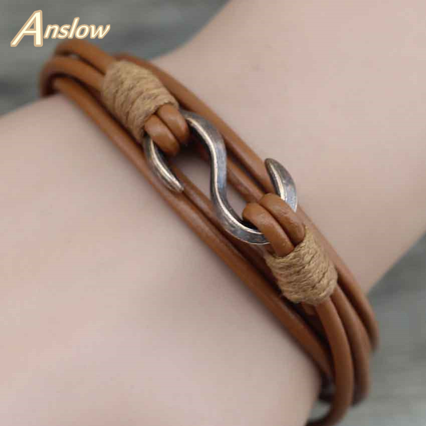 Anslow New Items Best Selling Cheap Price Vintage Retro Ancient 2.5mm Leather Bracelets Bangle Men Best Friend Gift LOW0358LB