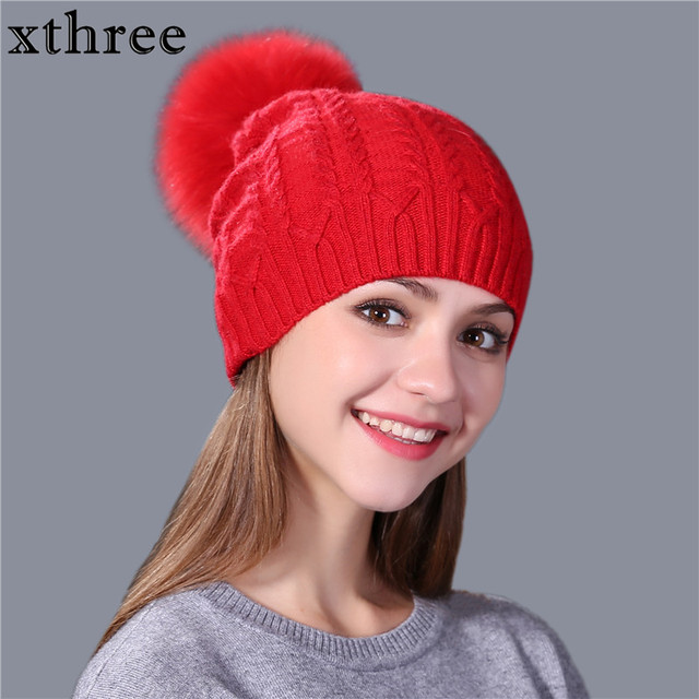 Xthree real fox fur pom poms sombrero de invierno para las mujeres caliente  lana beanie sombrero 60e58d49937