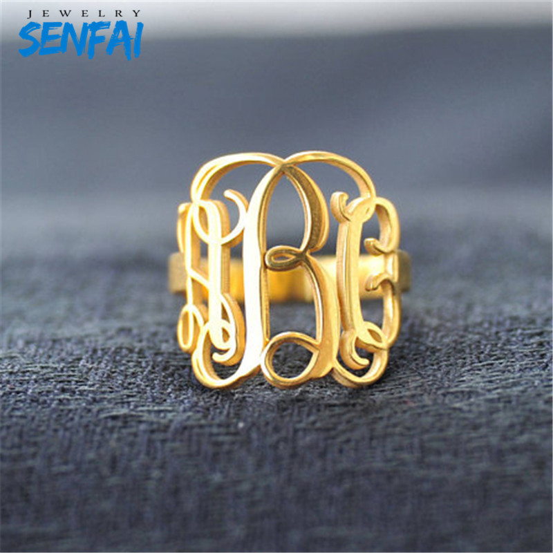 Private Custom Personality Monogram Initials Copper/Stainless Steel/Zinc Alloy Fashion Rings Jewelry For Women Free Shipping