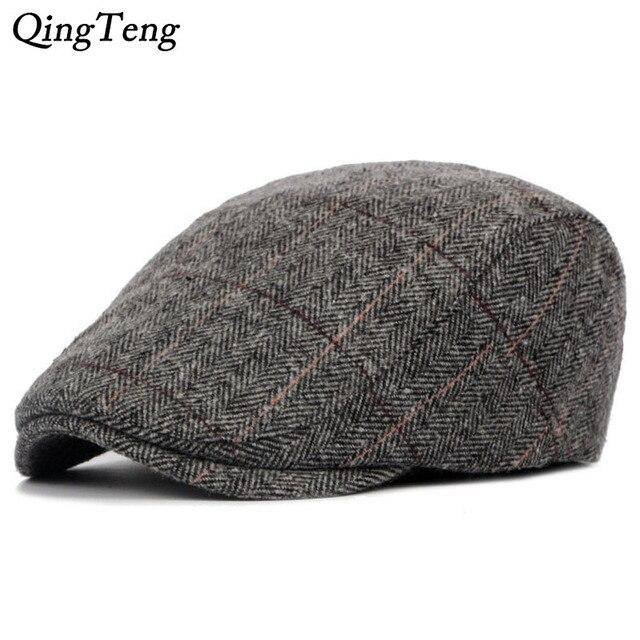 96c377c5291 Men Berets Herringbone Gatsby Tweed Cap Newsboy Male Beret Peaky Blinders  Hat Spring Women Flat Beret