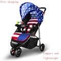 Bebê luz carrinho de criança dobrável triciclo amortecedores de carro do bebê guarda-chuva carrinho de criança de verão