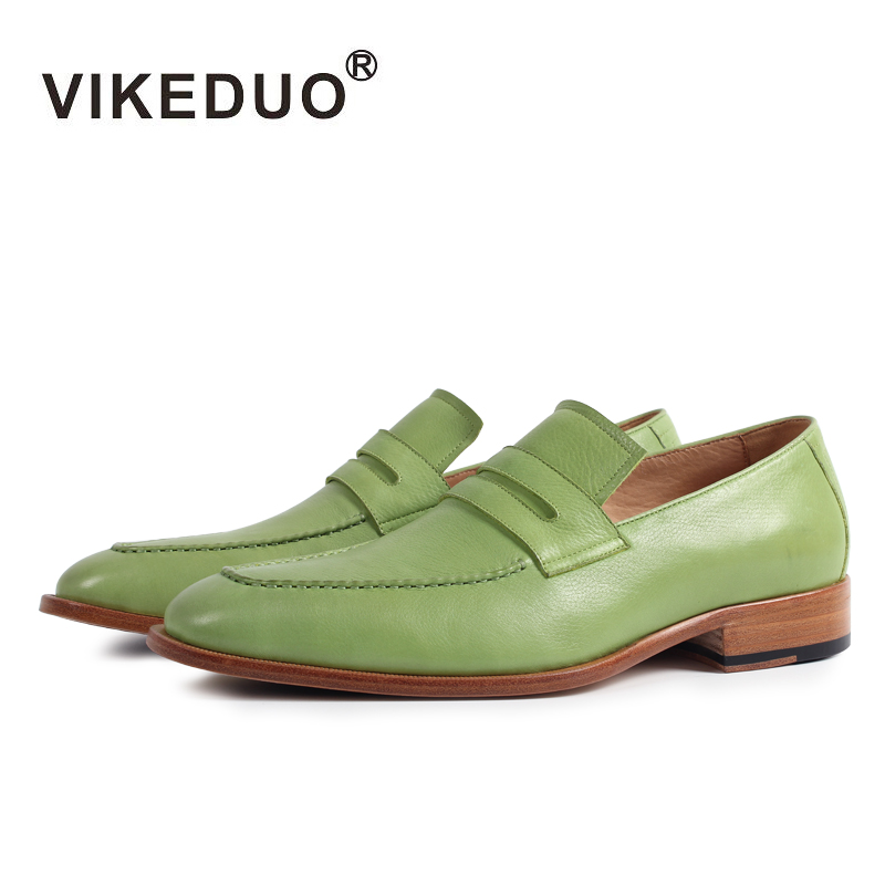 2018 Vikeduo Handmade Flat Men's Loafer Shoes 100% Genuine Leather Custom Fashion Casual Dress Party Slip-on Original Design 2018 vikeduo handmade hot men s loafer shoes 100% genuine leather fashion luxury causal party dress young man original design