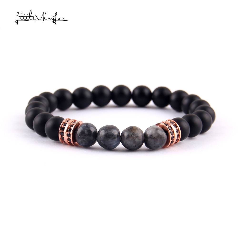 WML 8mm natural stone flash Beads men bracelet Pave CZ Double Round Charm Bracelets Bangles for men Luxury Jewelry in Charm Bracelets from Jewelry Accessories