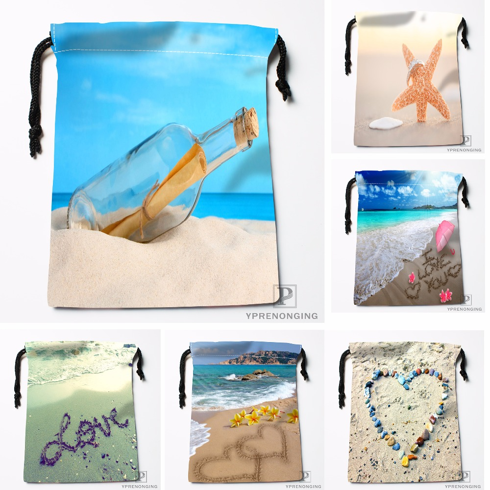 Custom Decor Sea Beach Flower Drawstring Bags Travel Storage Mini Pouch Swim Hiking Toy Bag Size 18x22cm#0412-04-26
