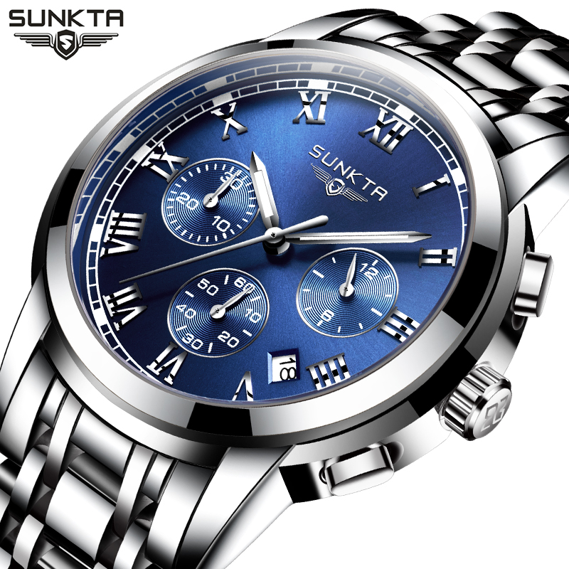 relogio masculino SUNKTA Mens Watches Top Brand Luxury Fashion Business Quartz Watch Men Sport Full Steel Waterproof Wristwatch new fashion men business quartz watches top brand luxury curren mens wrist watch full steel man square watch male clocks relogio