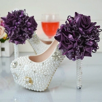 Purple Lace Flower Handmade White High Heeled Shoes Waterproof Shoes Bridal Shoes Wedding Dress Inlaid Stones