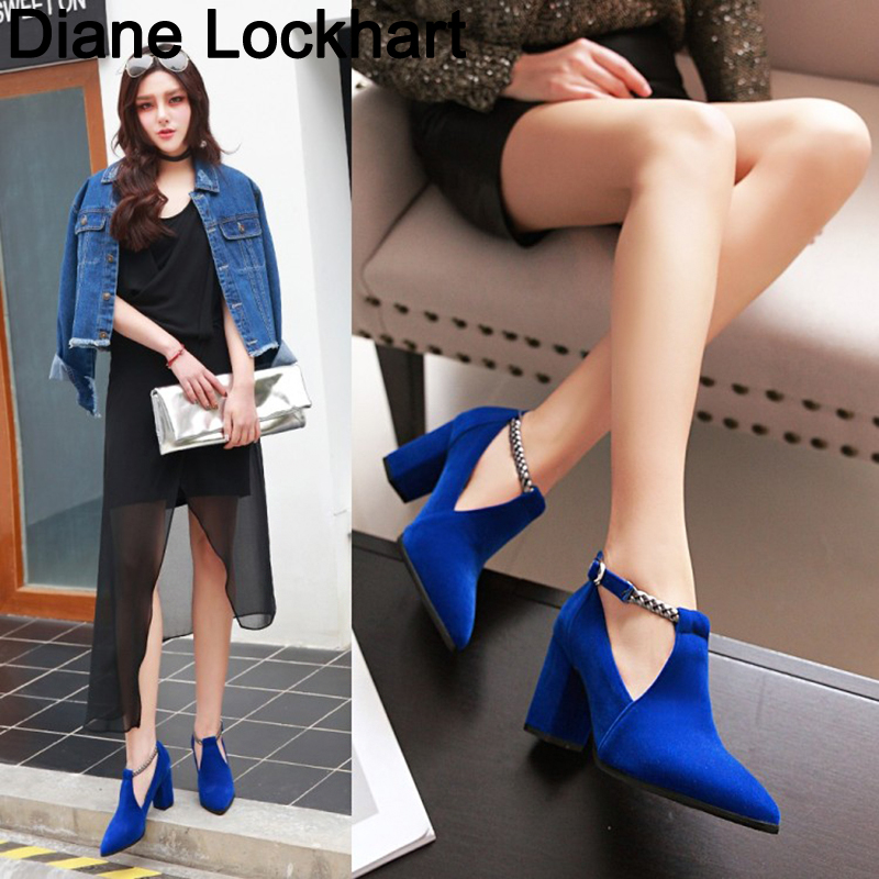 Women Pumps High Heels Ladies Shoes Elegant Pointed Toe Wedding Female Shoes 2018 Spring Fashion Size 42 43 Blue Black 31 32 33