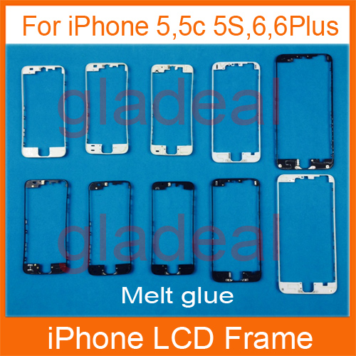 20PCS Front LCD Touch Screen Bezel Frame With UV Hot Melt Glue adhesive supporting bracket Holder For iPhone 4 4s 5 5s 5c 6 Plus lcd screen assembly for apple iphone 4 4g lcd display touch screen digitizer pantalla with frame bezel replacement black white