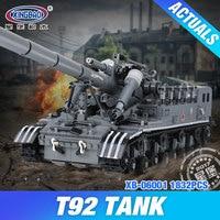XingBao Block 1389Pcs Creative MOC Military Series The T92 Tank Set Education Building Blocks Bricks Toys