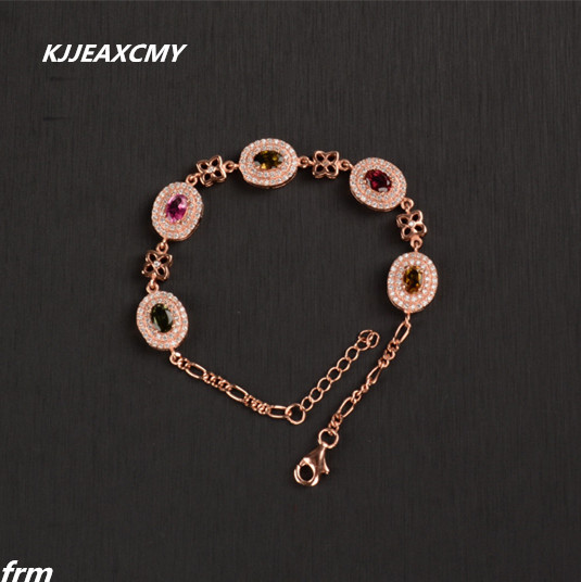 KJJEAXCMY Fine jewelry Natural tourmaline female bracelet bracelet wholesale 925 silver inlaid tourmaline