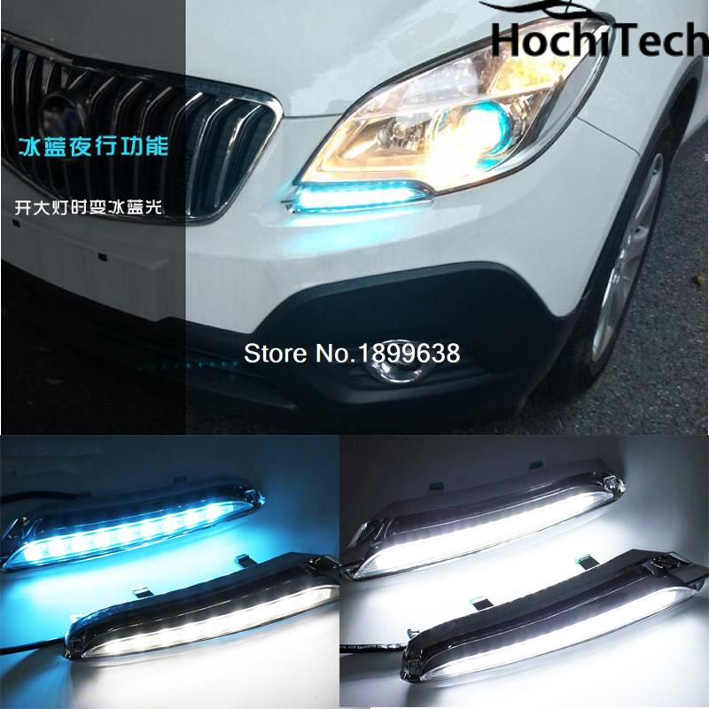 High quality 3 colors white yellow ice blue LED Car DRL Daytime running lights fog light for Opel Mokka 2012 2013 2014 2015 high quality h3 led 20w led projector high power white car auto drl daytime running lights headlight fog lamp bulb dc12v