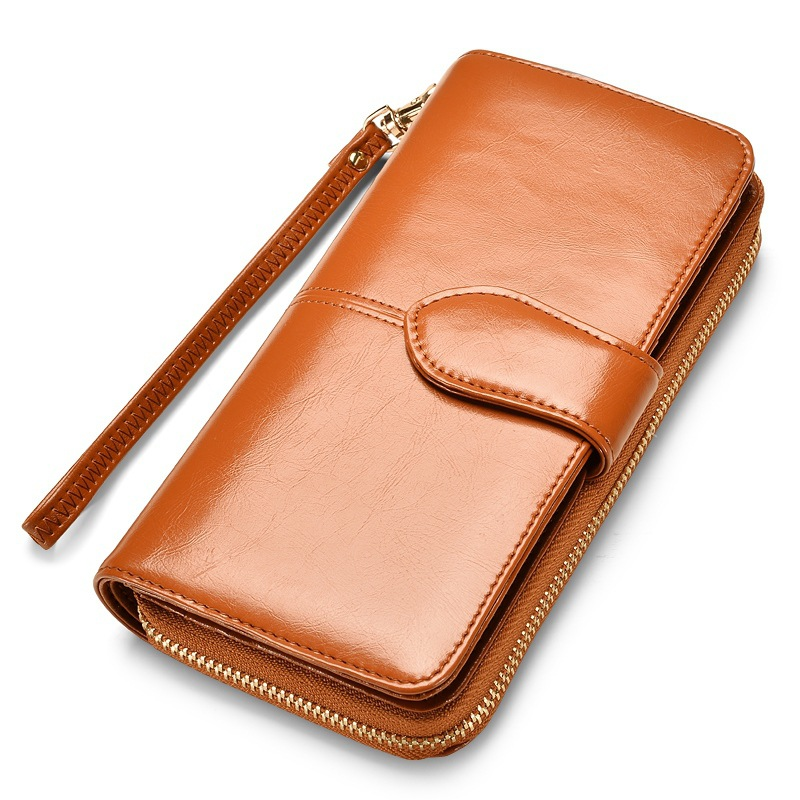 купить New Brand Women Wallet Dollar Price Lady Party PU Leather Purse Wallet Female Wax Oil Skin Long Zipper Wallet Bills Cion Purse недорого