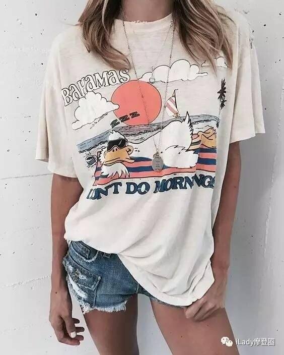 Kuakuayu hjn bahamas eu não faço manhãs praia pato camiseta feminina verão bonito moda relaxante vintage t