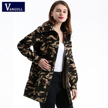 Фотография Vangull 2018 New Women Long Camouflage Military Trench Rivet Designs Army Green Loose Wind Breaker Ladies Boyfriend Overcoat