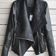 Старинные женщин тонкий PU кожаная куртка с длинным рукавом про-байкер мотоцикл пальто черный
