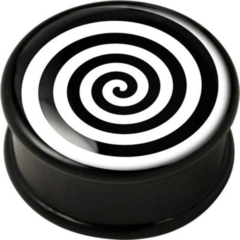 1 pair Op Art Spiral single flare ear plug gauges tunnel flesh tunnel with rubber ring body piercing jewelry