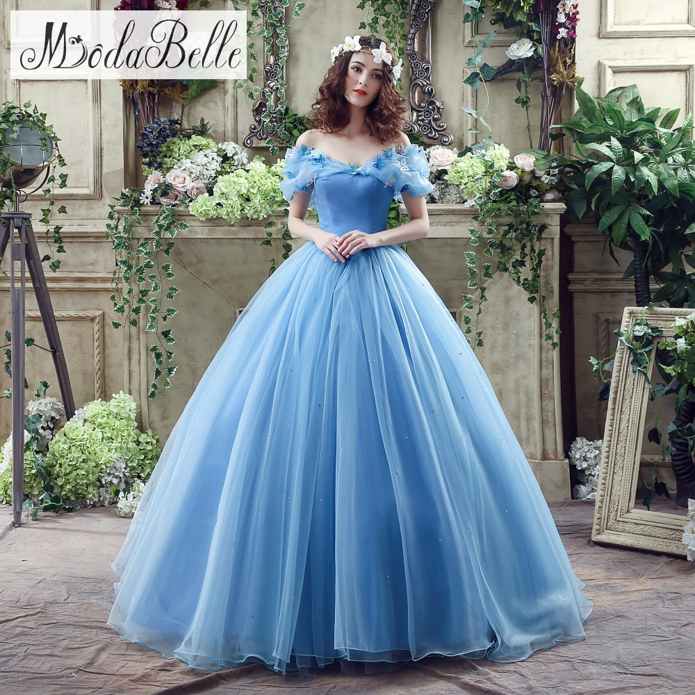 2016 designer blue ball gown wedding dress for sale off the shoulder boat neck real photos
