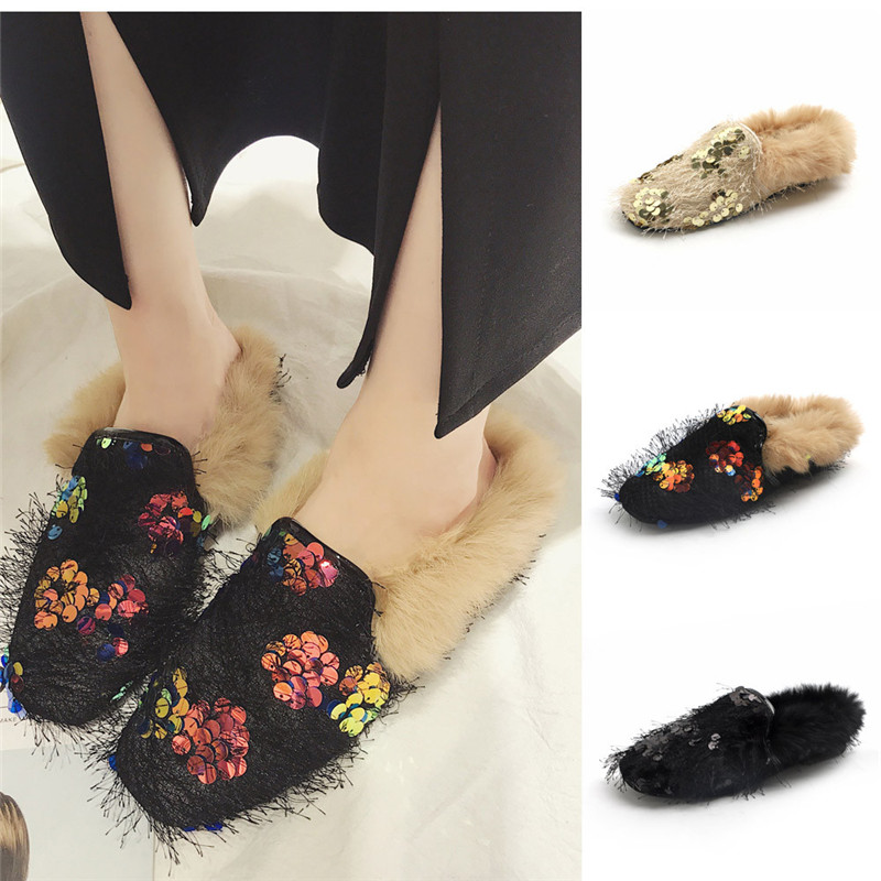 Fashion Autumn and winter new bling sequins women's Slip-on Peas Casual shoes plus velvet Cotton warm flat with fur shoes #40B spring and autumn flat shoes comfortable and easy to wear slip on closure type fur decoration win warm praise from customer