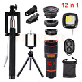 Telefone HD lens kit 3 em 1 olho de Peixe Grande Angular Macro lentes lentes 12x zoom telefoto tripé selfie remoto clips luz de preenchimento 12in1