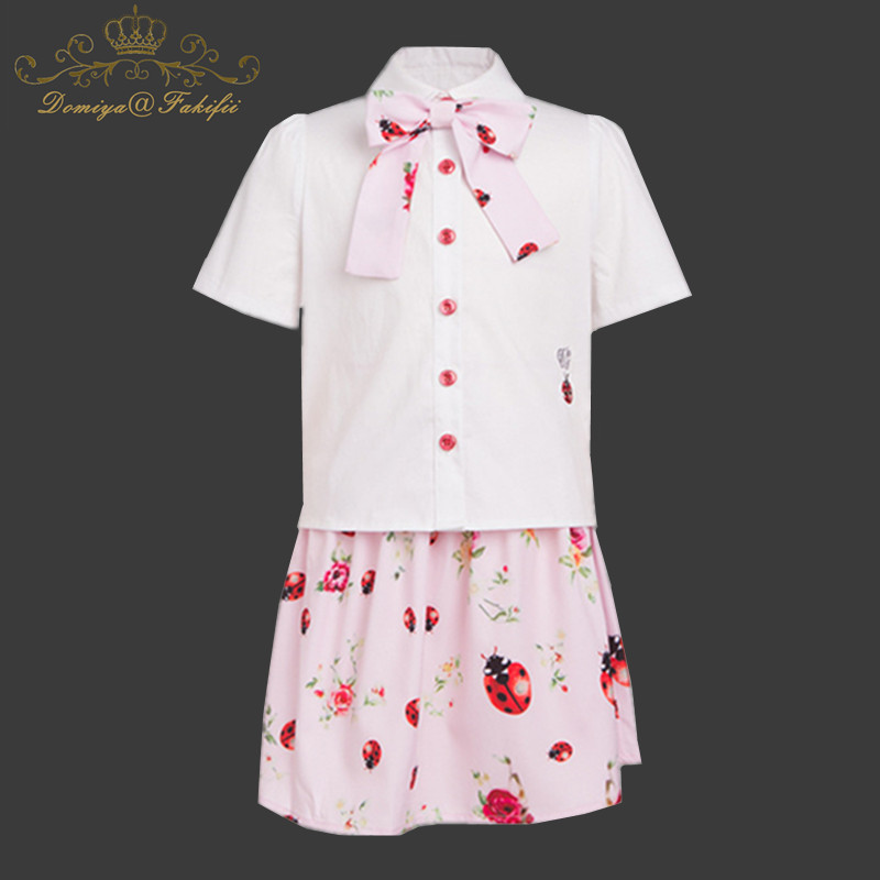Cute Toddler Girl Clothing Sets Kids 2018 Brand Summer Clothes Children Cotton Clothes Print shirt+ Skirt 2pcs set Kids Clothing children kids girls clothing sets outfits black clothes t shirt tops striped enfant cotton ruffled bow shorts skirt toddler girl