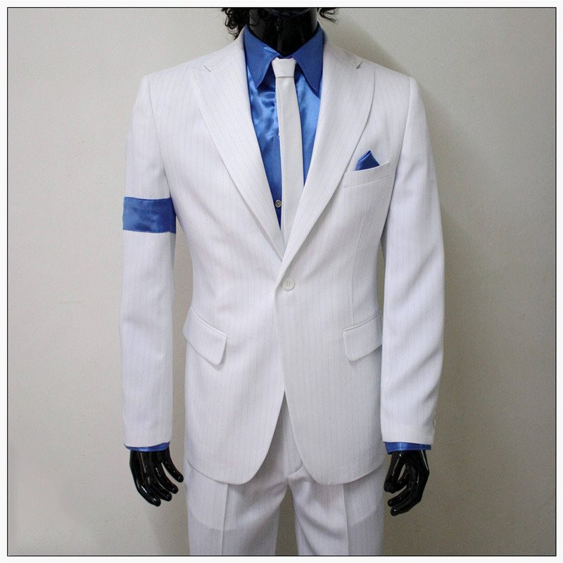 Michael Jackson Smooth Criminal White Unisex Suit jacket Uniform Set Cosplay Hot
