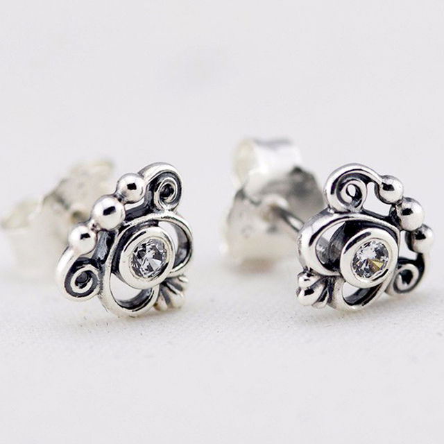Compatible with Brand 925 Sterling Silver Earrings for Women Fashion Jewelry Princess Tiara Stud Earrings with Clear CZ