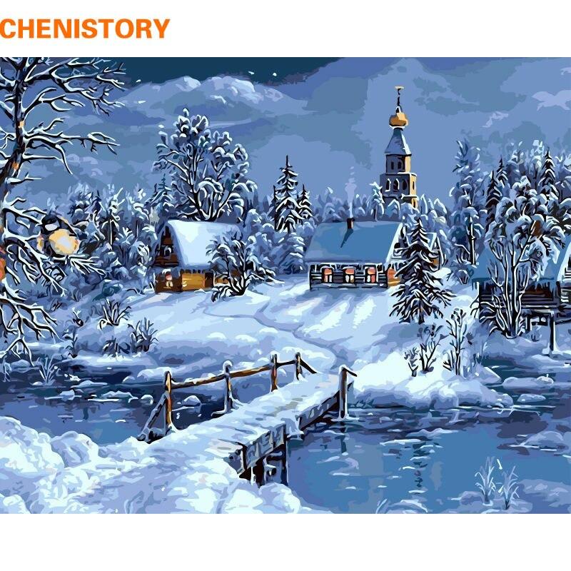 CHENISTORY Di Neve di Natale di Paesaggio della Pittura di DIY Dai Corredi di Numeri di Disegno Pittura By Numbers Unico Regalo Di Natale Per I Bambini