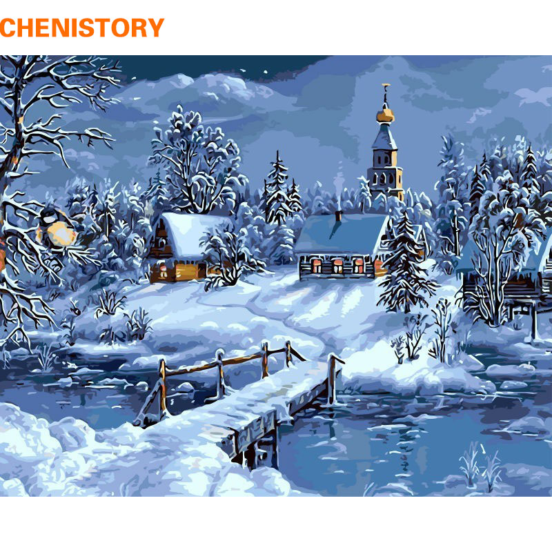 CHENISTORY Christmas Snow Landscape DIY Painting By Numbers Kits Drawing Painting By Numbers Unique Christmas Gift For Childrens