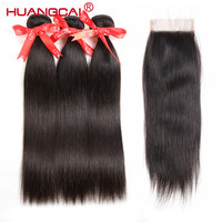 Huangcai Mink Brazilian Hair With Closure Straight Brazilian Hair Weave Bundles With Closure Non Remy Hair