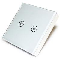 EARU White Crystal Glass Switch Panel EU Standard 2 Gang 1 Way Switch VL C702 1