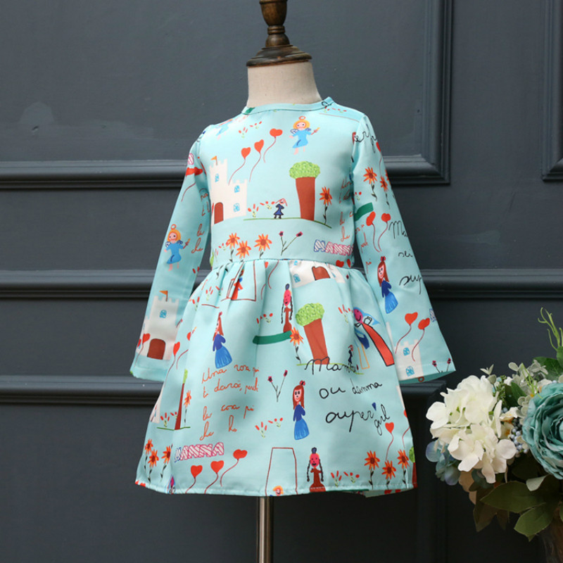 2017 Little Girl Dress Long Sleeves Spring Causal Painted Flower Princess Dresses for age 2 3 4 5 6 7 Years Daily Life Clothes